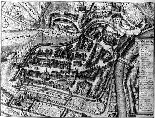 La ville de Görlitz, d'après un plan ancien
