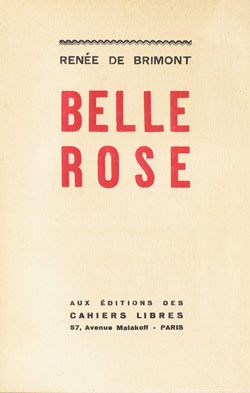 Belle Rose, édition originale, 1931