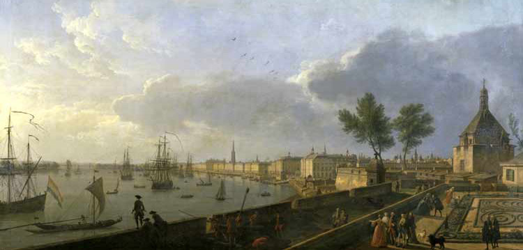Le port de Bordeaux, depuis le Château Trompette tableau de Joseph Vernet