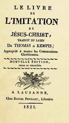 Le Livre de l'imitation de Jésus-Christ - Thomas A Kempis, publié par Daniel Pétillet en 1821