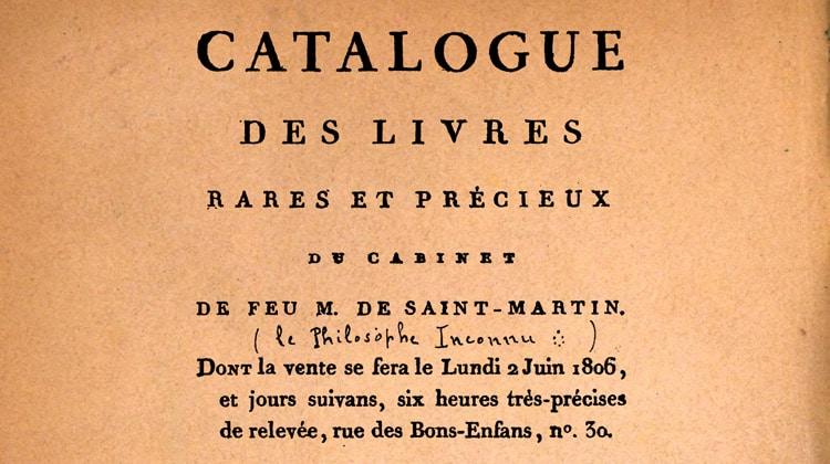 Le catalogue de la bibliothèque du Philosophe inconnu