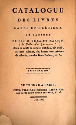 catalogue de la vente de la bibliotheque de Saint-Martin