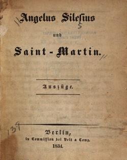 Angelus Silesius - Saint-Martin - édition de 1834