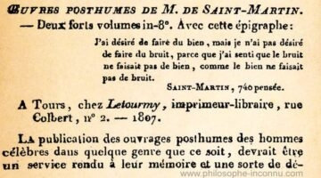 Saint-Martin, Oeuvres posthumes